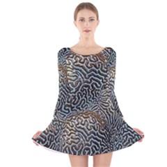 Coral Pattern Long Sleeve Velvet Skater Dress