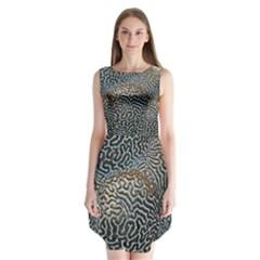 Coral Pattern Sleeveless Chiffon Dress