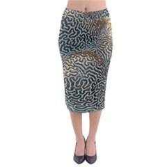 Coral Pattern Midi Pencil Skirt