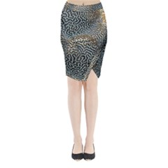 Coral Pattern Midi Wrap Pencil Skirt