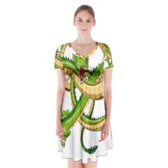 Dragon Snake Short Sleeve V Neck Flare Dress