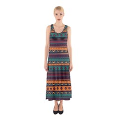 Ethnic Style Tribal Patterns Graphics Vector Sleeveless Maxi Dress