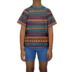 Ethnic Style Tribal Patterns Graphics Vector Kids  Short Sleeve Swimwear