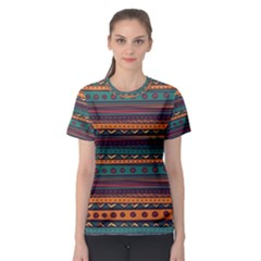 Ethnic Style Tribal Patterns Graphics Vector Women s Sport Mesh Tee