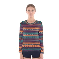 Ethnic Style Tribal Patterns Graphics Vector Women s Long Sleeve Tee