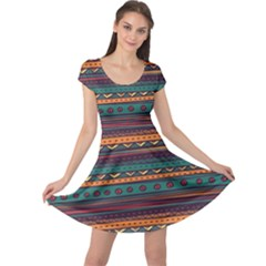Ethnic Style Tribal Patterns Graphics Vector Cap Sleeve Dresses