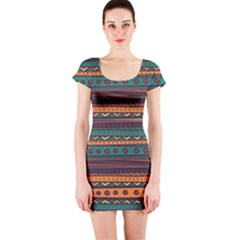 Ethnic Style Tribal Patterns Graphics Vector Short Sleeve Bodycon Dress