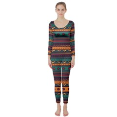 Ethnic Style Tribal Patterns Graphics Vector Long Sleeve Catsuit