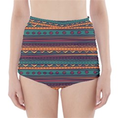 Ethnic Style Tribal Patterns Graphics Vector High-Waisted Bikini Bottoms
