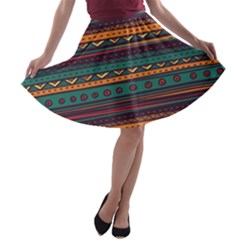 Ethnic Style Tribal Patterns Graphics Vector A-line Skater Skirt