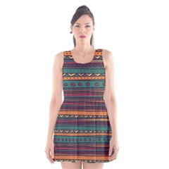 Ethnic Style Tribal Patterns Graphics Vector Scoop Neck Skater Dress