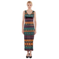 Ethnic Style Tribal Patterns Graphics Vector Fitted Maxi Dress