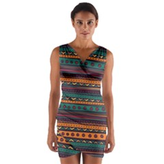 Ethnic Style Tribal Patterns Graphics Vector Wrap Front Bodycon Dress