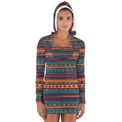 Ethnic Style Tribal Patterns Graphics Vector Women s Long Sleeve Hooded T Shirt