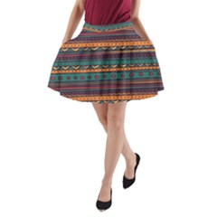 Ethnic Style Tribal Patterns Graphics Vector A-Line Pocket Skirt