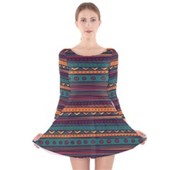 Ethnic Style Tribal Patterns Graphics Vector Long Sleeve Velvet Skater Dress