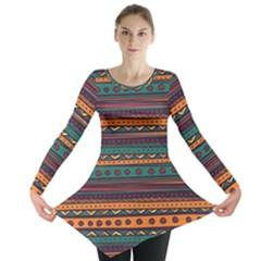 Ethnic Style Tribal Patterns Graphics Vector Long Sleeve Tunic