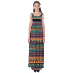 Ethnic Style Tribal Patterns Graphics Vector Empire Waist Maxi Dress