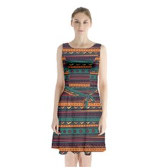 Ethnic Style Tribal Patterns Graphics Vector Sleeveless Chiffon Waist Tie Dress