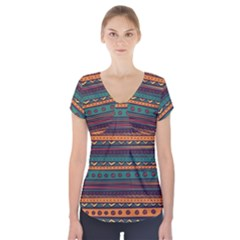 Ethnic Style Tribal Patterns Graphics Vector Short Sleeve Front Detail Top