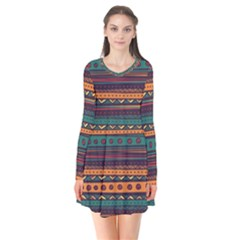Ethnic Style Tribal Patterns Graphics Vector Flare Dress