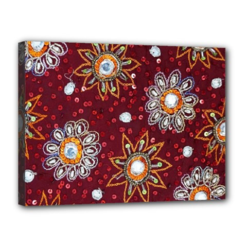 India Traditional Fabric Canvas 16  X 12