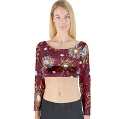 India Traditional Fabric Long Sleeve Crop Top
