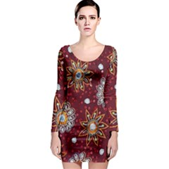 India Traditional Fabric Long Sleeve Bodycon Dress