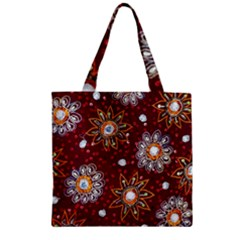 India Traditional Fabric Zipper Grocery Tote Bag