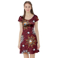 India Traditional Fabric Short Sleeve Skater Dress