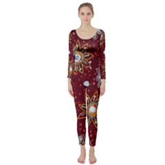 India Traditional Fabric Long Sleeve Catsuit