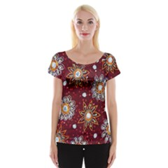 India Traditional Fabric Women s Cap Sleeve Top