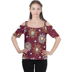 India Traditional Fabric Women s Cutout Shoulder Tee