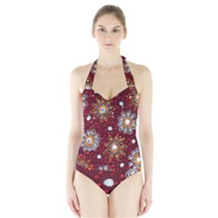 India Traditional Fabric Halter Swimsuit
