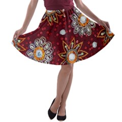 India Traditional Fabric A-line Skater Skirt