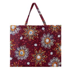 India Traditional Fabric Zipper Large Tote Bag