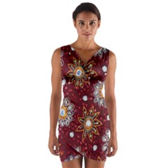 India Traditional Fabric Wrap Front Bodycon Dress