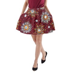 India Traditional Fabric A Line Pocket Skirt