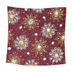 India Traditional Fabric Square Tapestry (large)