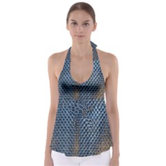 Parametric Wall Pattern Babydoll Tankini Top