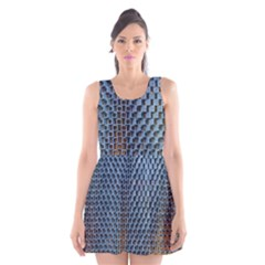 Parametric Wall Pattern Scoop Neck Skater Dress