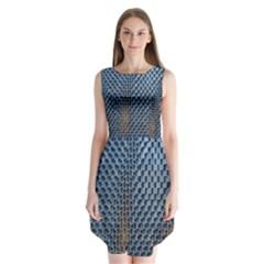 Parametric Wall Pattern Sleeveless Chiffon Dress