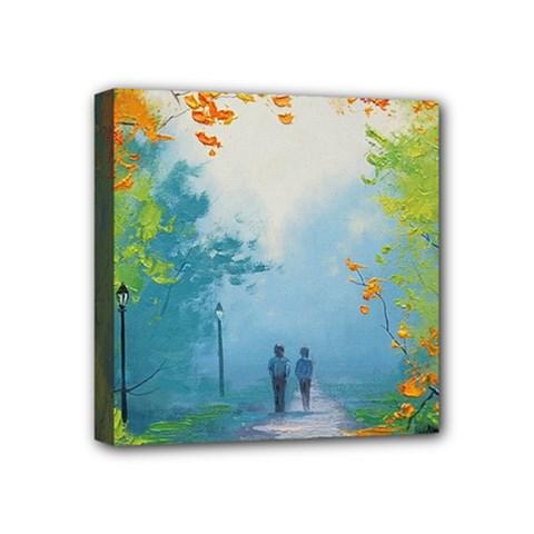 Park Nature Painting Mini Canvas 4  X 4