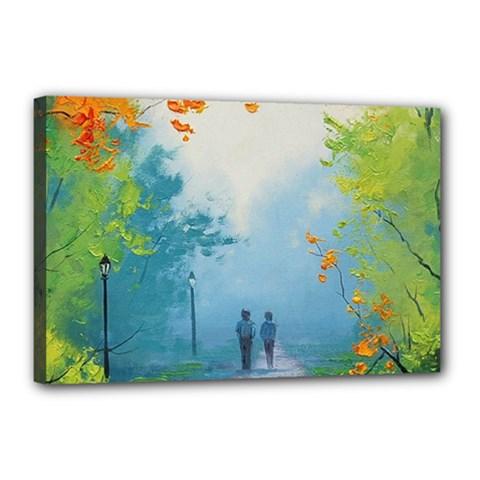 Park Nature Painting Canvas 18  X 12