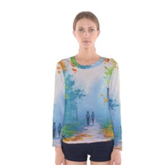 Park Nature Painting Women s Long Sleeve Tee