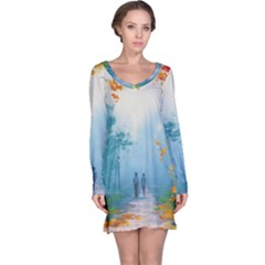 Park Nature Painting Long Sleeve Nightdress