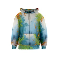 Park Nature Painting Kids  Zipper Hoodie