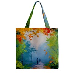 Park Nature Painting Zipper Grocery Tote Bag