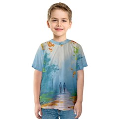 Park Nature Painting Kids  Sport Mesh Tee