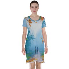 Park Nature Painting Short Sleeve Nightdress